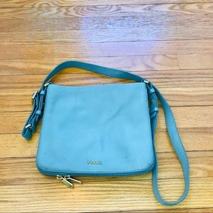 Tiffany Blue Fossil Pebble Leather Bag